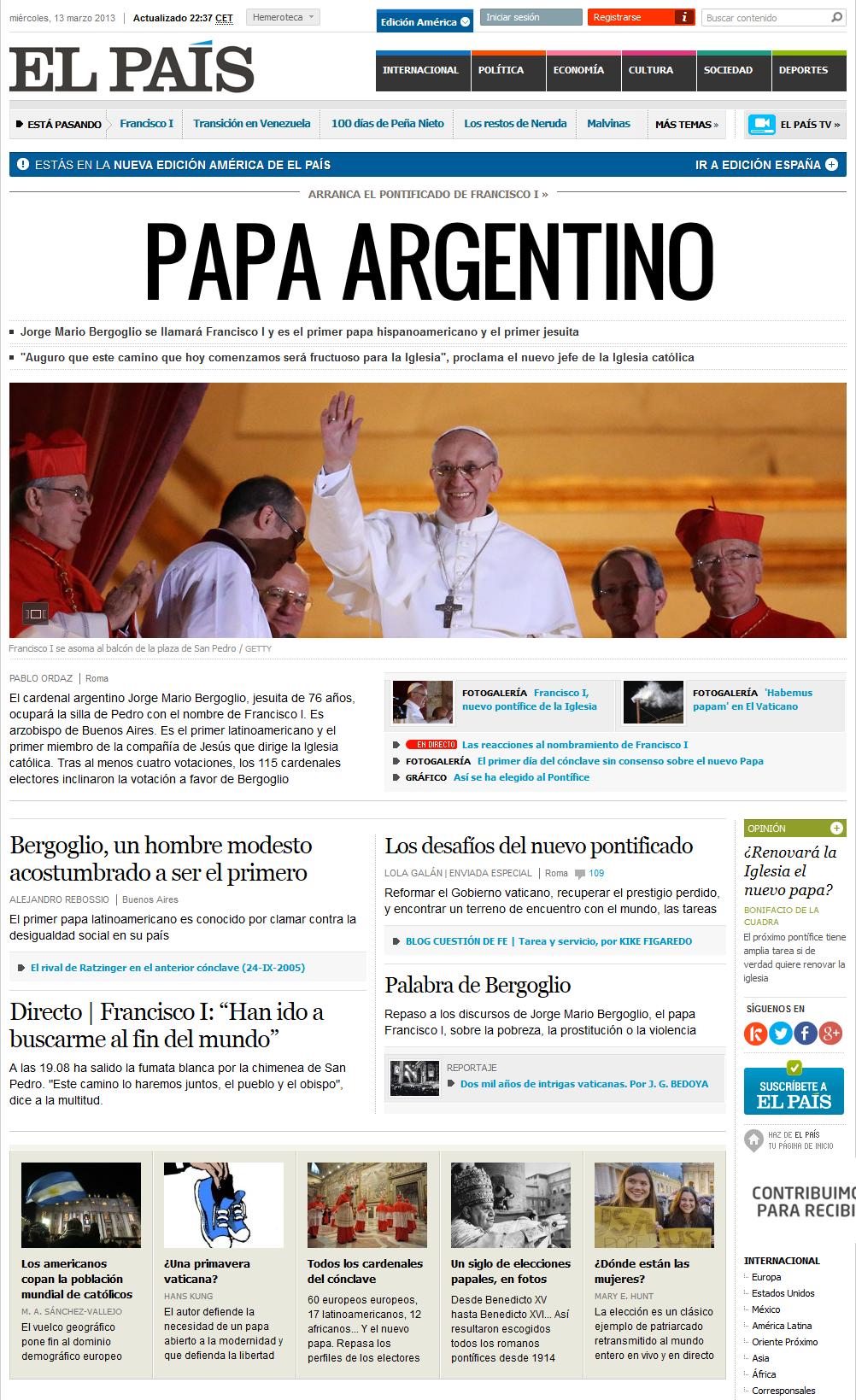 portada de el pais web 13 marzo