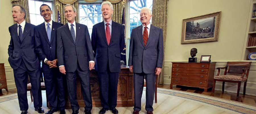 George H. W. Bush, Barack Hussein Obama, George W. Bush, Bill Clinton y Jimmy Carter / MARK WILSON (GETTY)